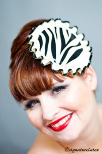 Latex circular fascinator, zerbra pattern with frill