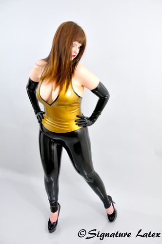 Latex Footless Leggings with Zip option