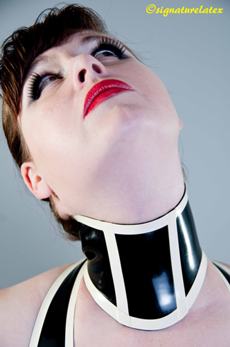 Latex large Collar with trim detail